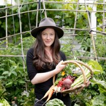 Plummery_Permaculture_Kat and veggies.jpg