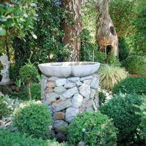 Cameron House topiary and birdbath